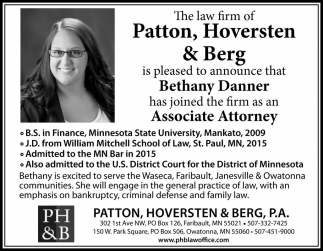 Ads For Patton, Hoversten And Berg, Pa in Southern Minn