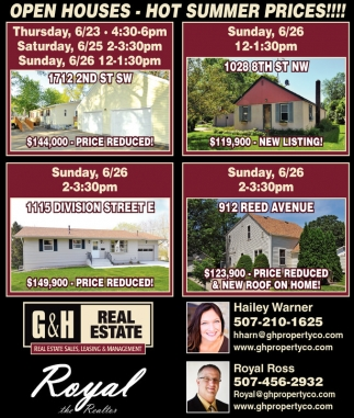 OPEN HOUSES - HOT SUMMER PRICES!!!