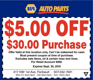 $5.00 OFF $ 30.00 Purchase