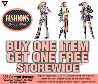 BUY ONE ITEM GET ONE FREE STOREWIDE