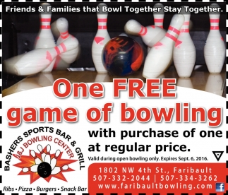 One FREE game of bowling