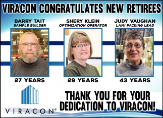 THANK YOU FOR YOUR DEDICATION TO VIRACON!