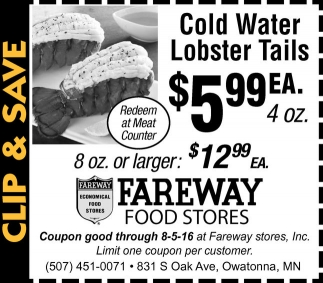 Cold Water Lobster Tails $5.99