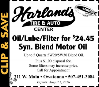 Oil/Lube/Filter for $24.45