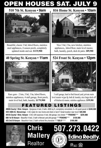 OPEN HOUSES SAT. JULY 9