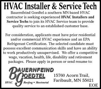 HVAC Installer and Service Tech