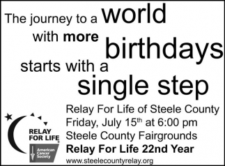 The journey to a world with more birthdays starts with a single step