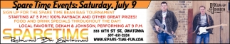 Spare Time Events - Saturday, July 9