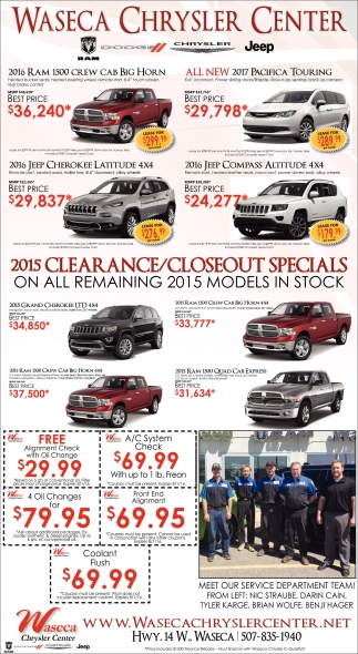 2015 CLEARANCE/CLOSEOUT SPECIALS