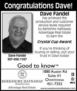 Congratulations Dave!