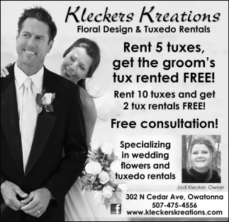 Rent 5 tuxes, get the groom's tux rented FREE!