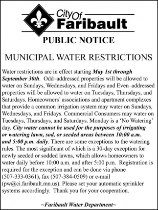 MUNICIPAL WATER RESTRICTIONS