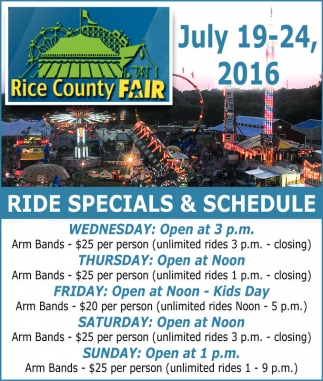 RIDE SPECIALS AND SCHEDULE