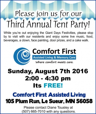 Please join us for our Third Annual Tent Party!
