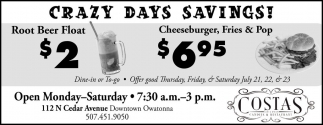 CRAZY DAYS SAVING!
