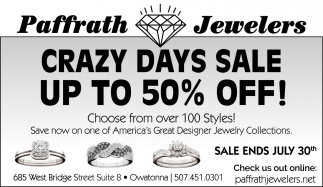CRAZY DAYS SALE UP TO 50% OFF!