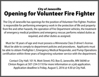 Opening for Volunteer Fire Fighter