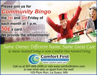 Please join us for our Community Bingo