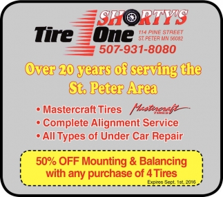 50% OFF Mounting and Balancing with any purchase of 4 Tires