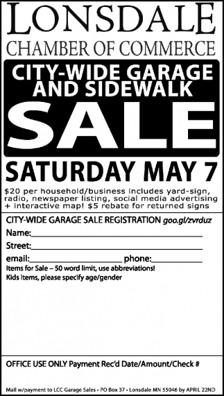 CITY-WIDE GARAGE AND SIDEWALK SALE