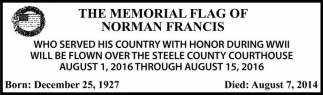THE MEMORIAL FLAG OF NORMAN FRANCIS