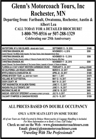 All prices based on double occupancy