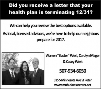 Did you receive a letter that your health plan is terminating 12/31?