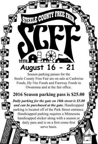 2016 Season parking pass is $25.00