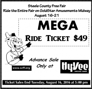 MEGA RIDE TICKET $49, Hy-vee Employee Owned, Waseca, MN