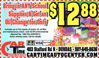 Any School Supplies and get an oil Change for $12.88