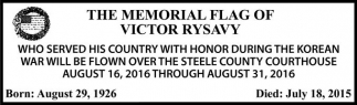 THE MEMORIAL FLAG OF VICTOR RYSAVY