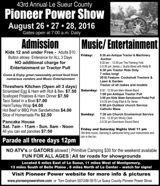 43rd Annual Le Sueur County Pioneer Power Show