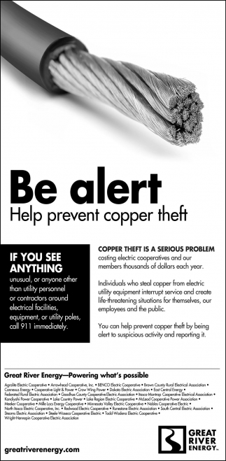 Be alert, Help prevent copper theft