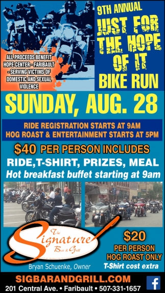 9th Annual Just ffor the Hope of it Bike Run