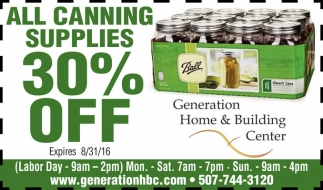 ALL CANNING SUPPLIES 30% OFF