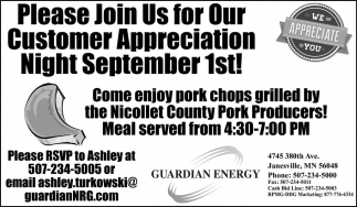Please Join Us for Our Customer Appreciation Night September 1st!