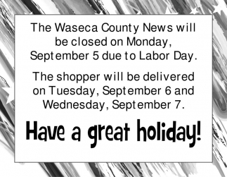 Closed on Monday, Sept 5