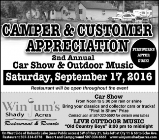 Camper and Customer Appreciation