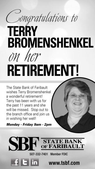 Congratulations to Terry Bromenshenkel on her Retirement!