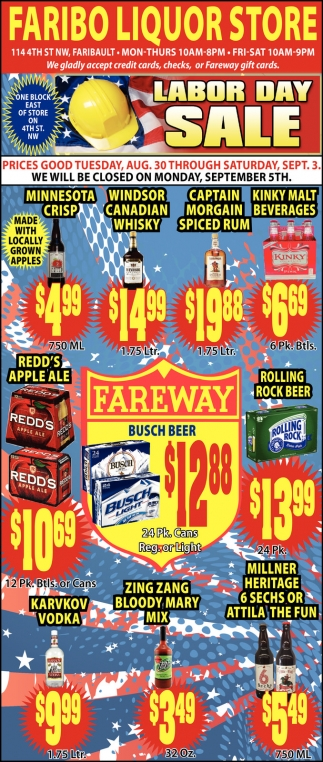 Faribo Liquor Store LABOR DAY SALE