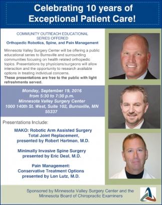 Orthopedic Robotics, Spine, and Pain Management