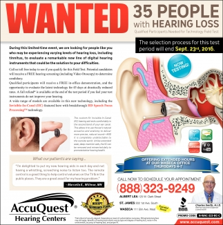 WANTED 35 people with Hearing Loss