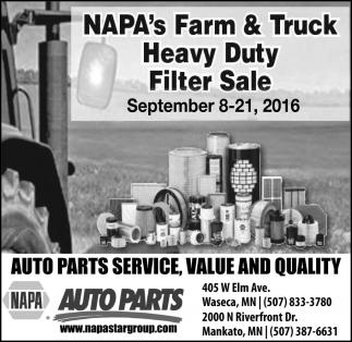 NAPA's Farm and Truck Heavy Duty Filter Sale