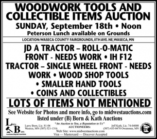 WOODWORK TOOLS AND COLLECTIBLE ITEMS AUCTION