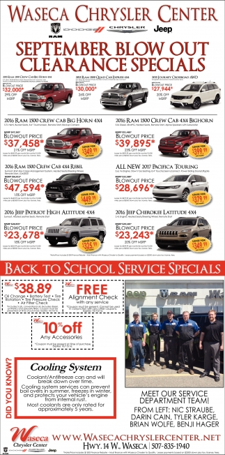 SEPTEMBER BLOW OUT CLEARANCE SPECIALS