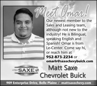 meet omar matt saxe chevrolet buick belle plaine mn southern minn media community newspapers and shoppers