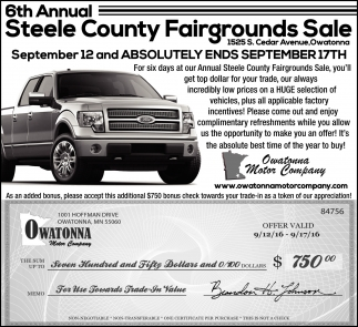 6th Annual Steele County Fairgrounds Sale