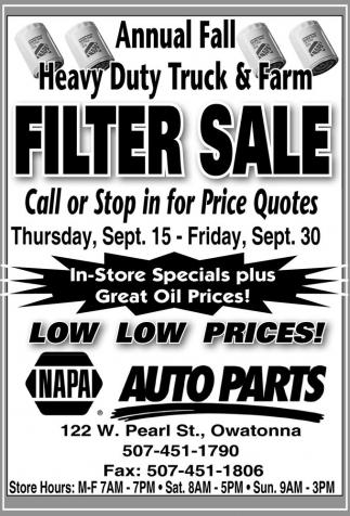 Filter Sale Napa Auto Parts Faribault Mn