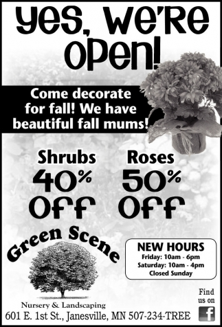 Shrubs 40% Off Roses 50% Off