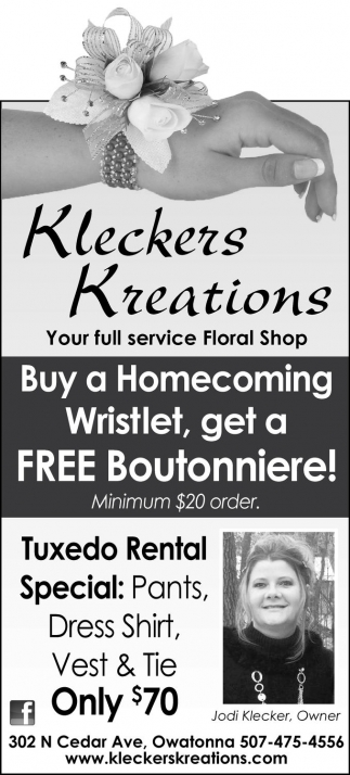 Buy a Homecoming Wristlet, get a FREE Boutonniere!
